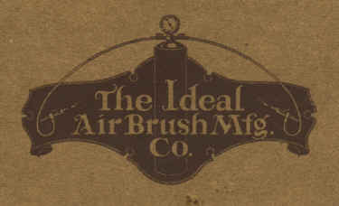 Ideal Air Brush Mfg. Co. logo on the front of the catalog. - Airbrush history from The Airbrush Museum featuring Paasche, Wold, Walkup, Iwata, Aerograph, Badger,  and  more!