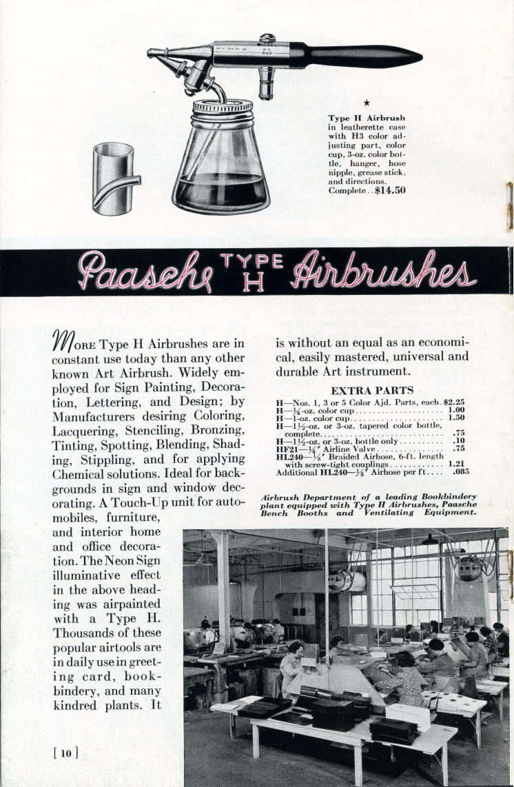 1938 Paasche Airbrush Co. catalog. - Airbrush history from The Airbrush Museum featuring Paasche, Wold, Walkup, Iwata, Aerograph, Badger,  and  more!