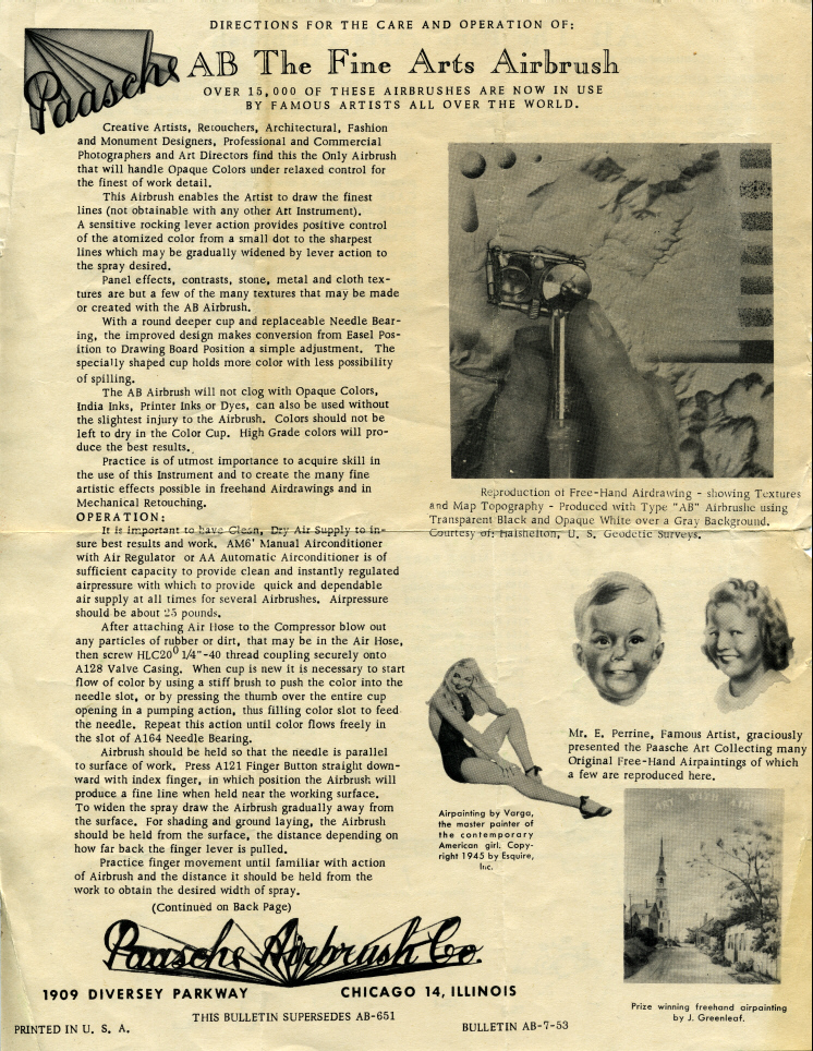 1953 Paasche AB Instruction Sheet - Airbrush Museum Airbrush History